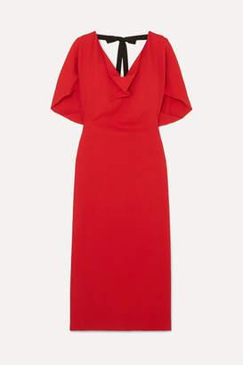 Roland Mouret Marianna Grosgrain-trimmed Draped Stretch-crepe Dress - Red