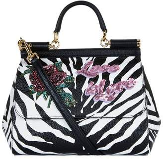 Dolce & Gabbana Medium Embroidered Zebra Sicily Bag