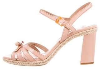 Prada Sport Leather Ankle Strap Sandals