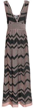 M Missoni Metallic Crochet-Trimmed Ribbed-Knit Maxi Dress