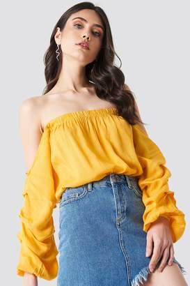 Linn Ahlborg X Na Kd Off Shoulder Puff Sleeve Top Yellow