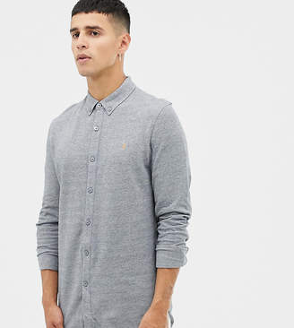 Farah Kompis slim fit pique jersey shirt in gray