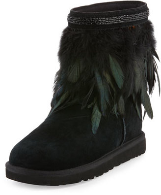 UGG Classic Short Feather-Trim Boot, Black $320 thestylecure.com
