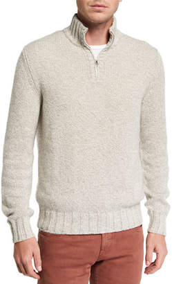 Loro Piana Men's Mezzocollo Eaglecrest Half-Zip Sweater