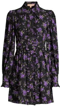 Michael Kors Belted Floral Silk Shirtdress