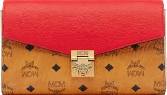 MCM Millie Flap Crossbody Visetos Leather Block Medium Cognac/Ruby Red