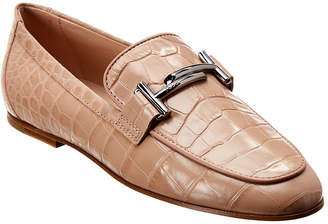 Tod's Double T Croc-Embossed Leather Moccasin