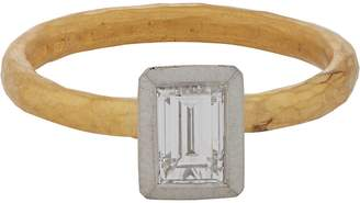 Malcolm Betts Women's Diamond, Platinum & Gold Solitaire Ring