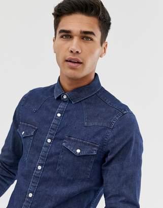 Asos Design DESIGN skinny western denim shirt in rinse wash