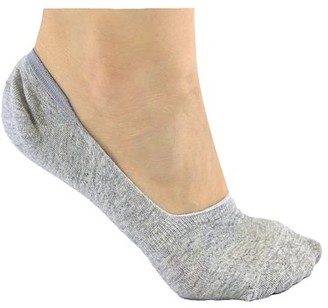DL furniture 6 Pack Gray Thin Casual No Show Socks Non Slip Flat Boat Line