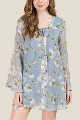 Angela Floral Pastel Bell Sleeve Shift Dress - Light Blue