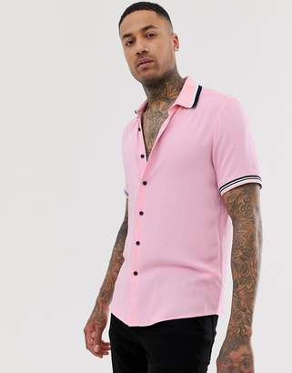 Asos Design DESIGN oversized viscose shirt with rib detail in pink