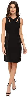 Laundry by Shelli Segal Sheath Dress w/ Cut Outs Faux Leather Women's Dress
