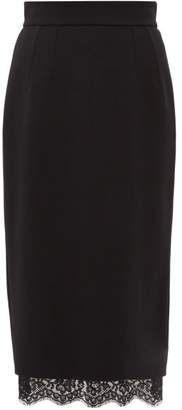 Dolce & Gabbana Lace Hem Crepe Pencil Skirt - Womens - Black
