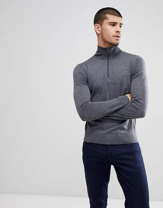 Paul Smith Merino Quarter Zip Jumper In Grey