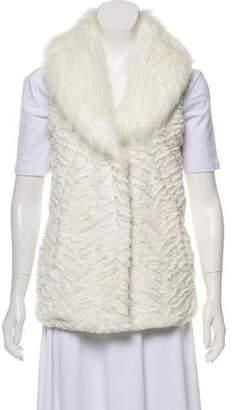 Adrienne Landau Faux Fur Collared Vest
