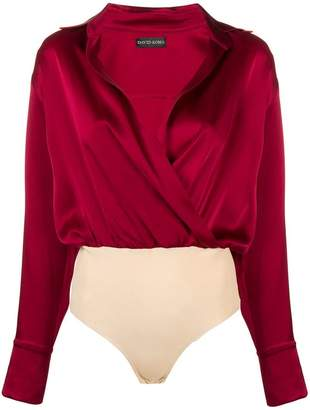 David Koma crossed shirt bodysuit