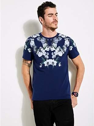 GUESS Men's Short Sleeve Soto Dark Floral Print Crew