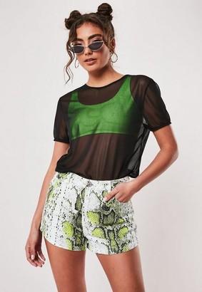 Missguided Neon Green Snake Print Co Ord Denim Mom Shorts