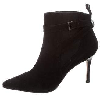 Manolo Blahnik Suede Pointed-Toe Ankle Boots