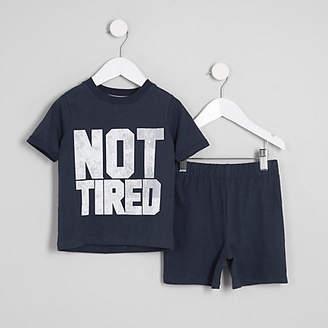 River Island Mini boys navy 'not tired' print pajama set