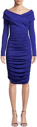 Diane von Furstenberg Ruched Off-Shoulder Long-Sleeve Dress