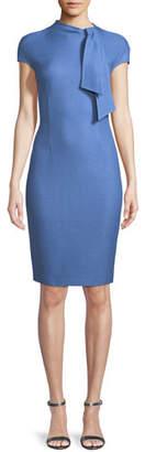 St. John Sarga Tie-Neck Cap-Sleeve Sheath Dress