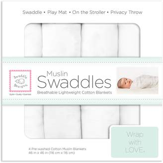 Swaddle Designs Cotton Muslin Swaddle Blankets, Set of 4, Pure