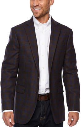 STAFFORD Stafford Merino Wool Stretch Brown Blue Checked Classic Fit Sport Coat