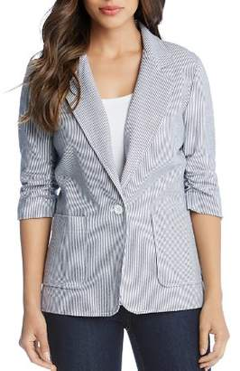 Karen Kane Ruched-Sleeve Pinstriped Blazer