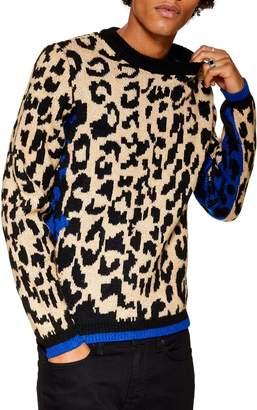 Topman Leopard Pattern Sweater