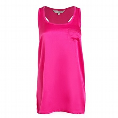 Red Herring Hot pink silk & jersey longline vest