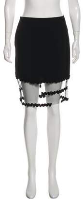 Christian Lacroix Mesh-Accented Knee-Length Skirt