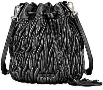 Miu Miu Matelasse Leather Drawstring Bucket Bag