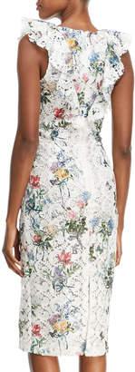 Monique Lhuillier V-Neck Sleeveless Botanical-Print Lace Guipure Sheath Cocktail Dress