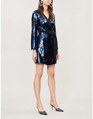 RIXO Maria zebra-pattern sequinned mini dress