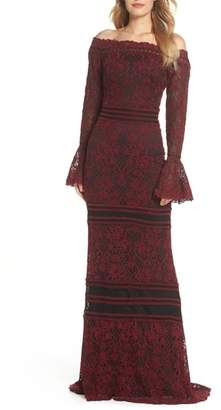 Tadashi Shoji Bell Sleeve Embroidered Lace Gown