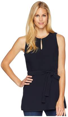 Ellen Tracy Keyhole Front Peplum Top With Belt Women's Clothing