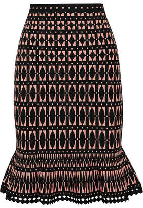 Herve Leger Stretch Jacquard-knit Skirt - Black