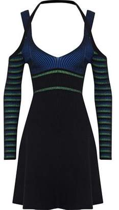 Opening Ceremony Cold-Shoulder Striped Ribbed-Knit Mini Dress
