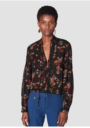 Derek Lam 10 Crosby Long Sleeve Blouse With Neck Ties