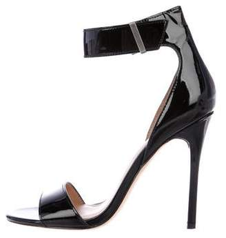 Halston Patent Leather Peep-Toe Sandals