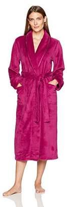Arabella Women's Plus Size Shawl Collar Textured Plush Long Robe with Satin Trim