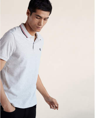 Express small lion tipped stretch pique polo