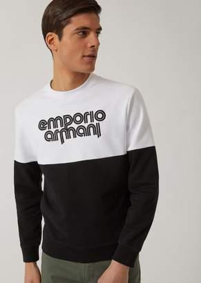 Emporio Armani Cotton Blend Two-Tone Sweatshirt With Logo Detail