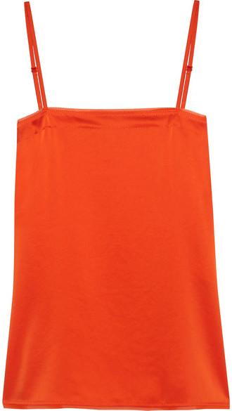 DKNY - Georgette-trimmed Satin Camisole - Orange