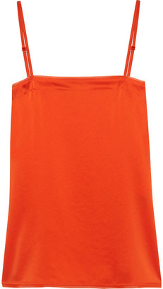 DKNY - Georgette-trimmed Satin Camisole - Orange $100 thestylecure.com
