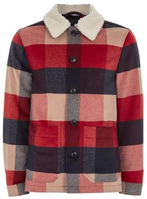 Topman Mens Red Borg Collar Check Shacket
