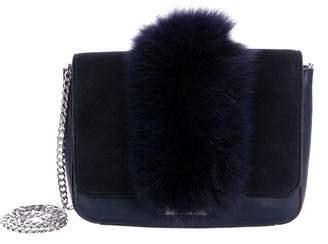 Loeffler Randall Fox Fur-Trimmed Shoulder Bag