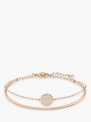Swarovski Romance Crystal Round Charm Bangle, Rose Gold